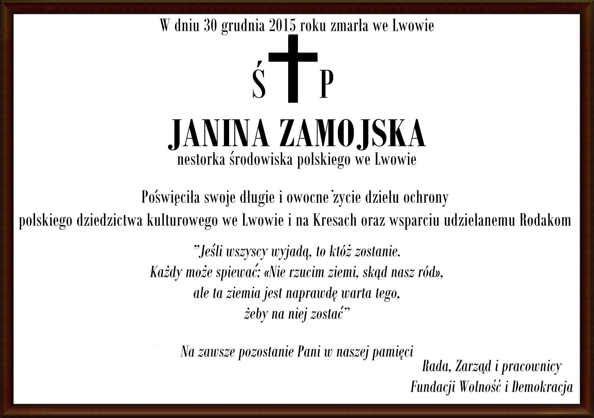 Pogrzeb Janiny Zamojskiej
