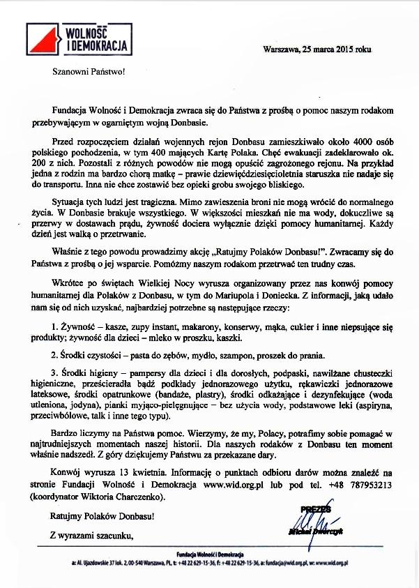 Konwój z pomocą humanitarną dla Polaków z Donbasu