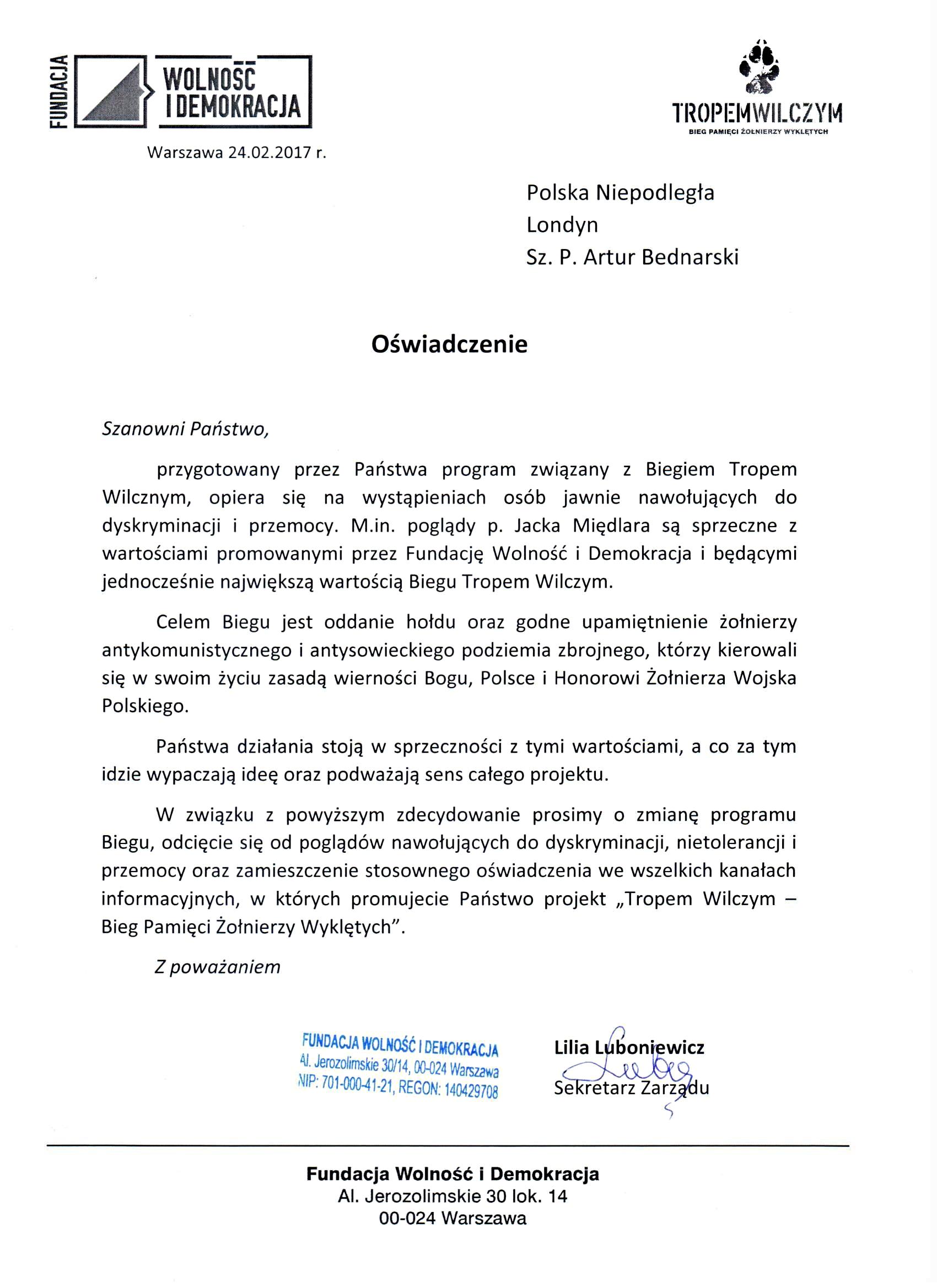 """Oświadczenie Zarządu Fundacji Wolność i Demokracja w sprawie organizacji biegu """"Tropem Wilczym"""" w Londynie"""